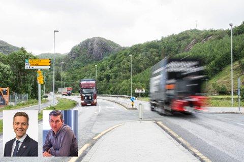 TILFØRSELSVEI: Mandag var ordfører i Eigersund, Odd Stangeland (Ap), i møte med blant andre samferdselsminister Knut Arild Hareide (KrF). Det jobbes videre med å sikre tilførselsvei til Egersund i bygging av ny E39.