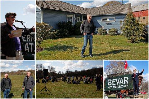 1. MAI: Engasjementet var stort da folk samlet seg i Bjerkreim for å protestere mot planene i Hetlandsskogen.
