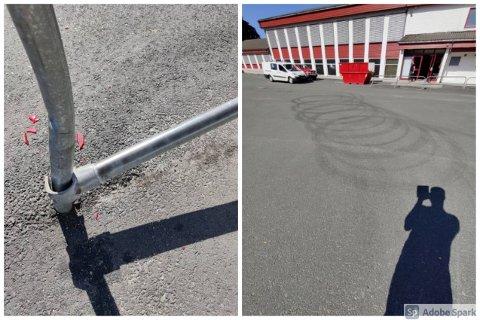 GÅR FOR SEG: Knuste baklykter, bøyde gjerder og gummispor i asfalten vitner om uvettig kjøring rundt Bjerkreim skole nattestid.