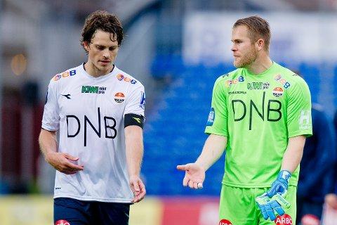 TIL ELFSBORG: Jørgen Horn (t.v.) forlater Godset og fortsetter karrieren i Sverige. Her med keeper Espen Bugge Pettersen.