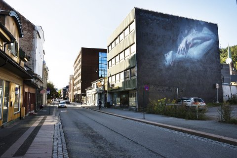 VEGGMALERI: Henrik Aarrestad Uldalen fra Asker har malt det iøynefallende maleriet på veggen i det gamle Skarra-bygget i Engene.