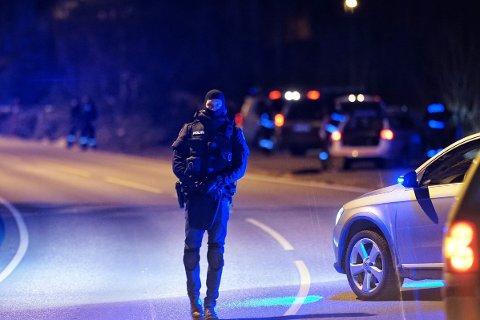 Politiet stilte mannsterke i Sande søndag ettermiddag. Her fra fylkesvei 319 som ble stengt i forbindelse med aksjonen.