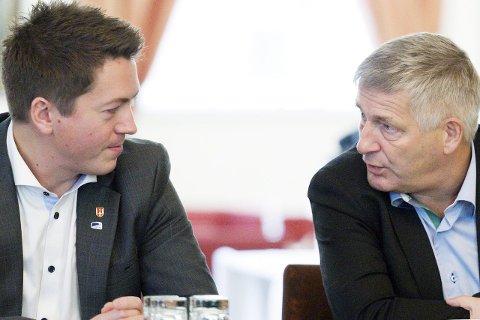 BLIR ETT: Ordførerne Andreas Muri i Svelvik (t.v.) og Tore Opdal Hansen i Drammen har fått det som de ønsket. De to kommunene slår seg sammen.