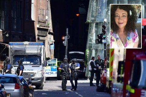 I LONDON: Kristin (innfelt) var i den britiske hovedstaden da bomben smalt.