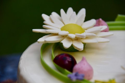 DETALJER: Blomstene og biene er inspirert av Dronningens friluftsinteresse.