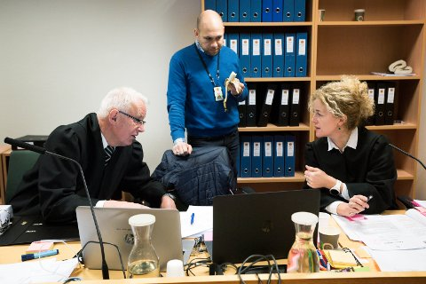 PÅ HUGGET: Aktorene  Anne Christine Stoltz Wennersten og Hans Lyder Haare konfronterer tiltalte i hver enkelt av byggesakene. Bak bisitter Håvard Sand.