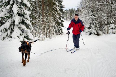 MER SNØ: Tor Melheim med hunden Fia på vei ut i Drammensmarka. Mange gleder seg over at det har blitt ordentlig vinter i Drammensdistriktet.
