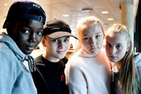 HIVER SEG INN I SISTE TIME: Elevrådet på Marienlyst har gjennomført en underskriftskampanje for å få fram hvilken løsning elevene selv ønsker. Fra venstre: Lat Samba Gueye (14), Emil Stang Lund (15), Sarah Sætnan (14) og Sofie Rosenvinge Hjertsen (14).