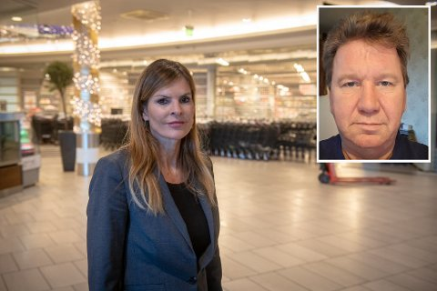 LETTET: Senterleder Elisabeth Lohk og driftssjef for Meny Buskerud, Arild Lindgren, er glad for at det har ordnet seg for de ansatte i oppsigelsestiden. Tirsdag fikk de ansatte på Meny beskjed om at de vil bli plassert ut i andre butikker.