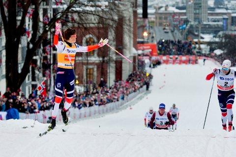 2022 NESTE: Johannes Høsflot Klæbo har vunnet skisprinten flere ganger. Det blir ikke noe skisprint i sentrum før i 2022. Her fra 2018.