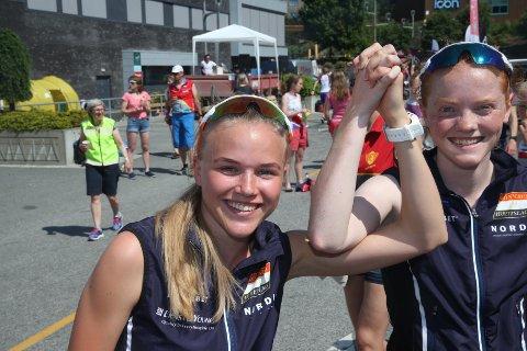 UTENLANDS FOR NORGE: Andrea Ranvik (til venstre) og Jenny Baklid skal om noen uker løpe for Norge.
