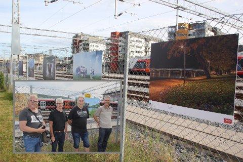 Fornøyde medlemmer av Drammen Fotoklubb, Roger Hennum (fra venstre), David Been, Jan Erik Bamrud og Per Fjordvang, da de åpnet utstillingen. Nå er de mindre fornøyd, etter at 11 av bildene er stjålet.