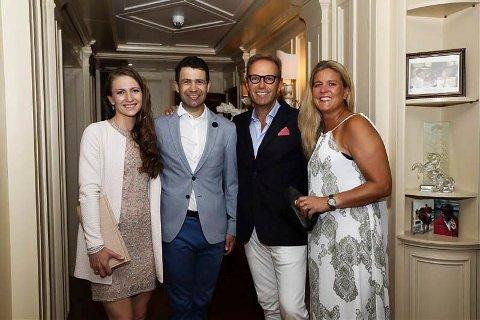 I MONACO: Geir Gulliksen (nr. to fra høyre) sammen med sin kone Elisabeth (t.h.) og Ole Einar Bjørndalen med kona Darja Domratsjeva (t.v.) i selskap i Monaco nylig.