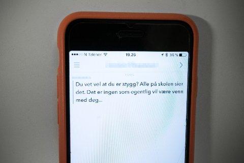 Oslo  20170214. Mobbing på mobil, chat og sosiale medier. Snapchat. Foto: Audun Braastad / NTB scanpix