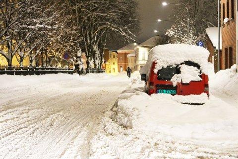 Slik så det ut i Tordenskiolds gate i Drammen i fjor vinter.