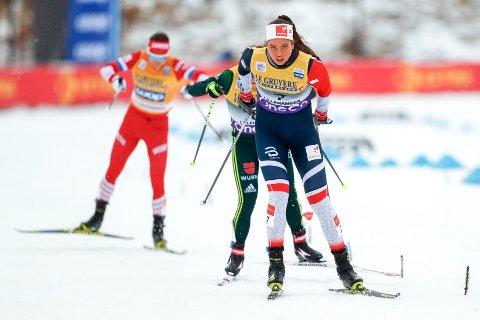 Kristine Stavås Skistad tok seg greit til sprintfinalen med tredjeplass på prologen i Meråker.