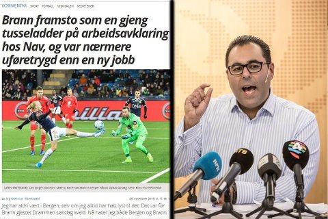 """IKKE BEGEISTRET: Masud Gharahkhani i Ap er kritisk til ordbruken i Eikerbladets siste leder. I skrivende stund er overskriften til venstre endret til  """"Nå «hater» jeg Brann, og Bergen""""."""