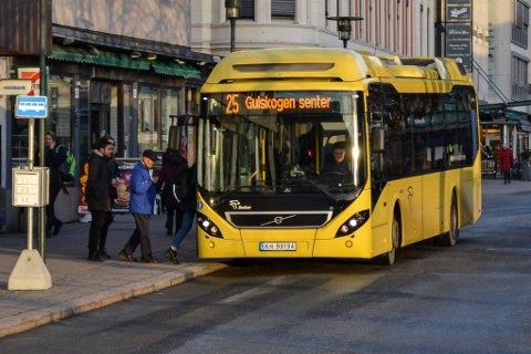 Billigere på bussen: I Drammen går billettprisen på en enkeltbillett ned med elleve kroner fra 1. februar.