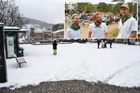 TORGET: F.v.: Thomas Waitz Knutsen, Joakim Throndsen og Bjørn I. Thomassen håper å lage kinostemning på selveste Bragernes torg i sommer.
