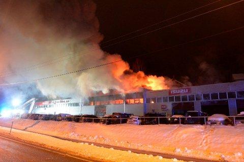 BRANN: Bråtens Bilco ble totalskadet i brann 22. februar.