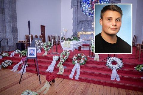 BEGRAVELSE: 15 år gamle Even Warsla Meen (innfelt) ble bisatt i Frogner kirke i Oslo torsdag 7. mars.