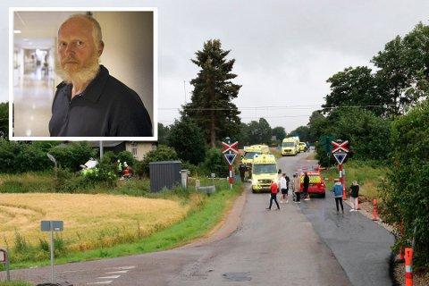 OMKOM: Det var en far og en sønn bosatt i Øvre Eiker som mistet livet i togulykken i Danmark lørdag. - Rektoren på skolen 7-åringen gikk på har informert foreldrene til guttens klassekamerater om ulykken, sier kommuneoverlege i Øvre Eiker Einar Braaten.