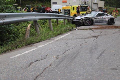 Autovernet fikk seg en real trøkk etter ulykken.