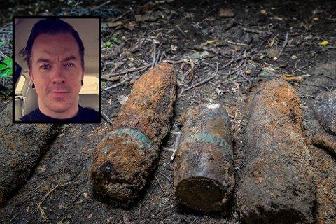 FANT GRANATER: Nicolai Bergum (innfelt) og kompisene fant flere granater på den gamle Dyno-tomta på Gullaug.