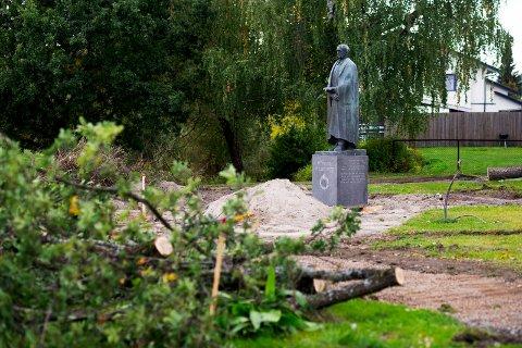 Det graves på Wildenveis Plass i Mjøndalen