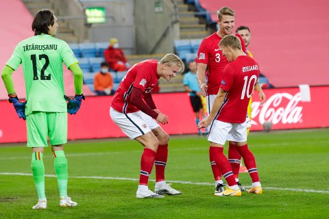 Erling Braut Haaland gjorde hattrick da Norge slo tilbake med 4-0-seier over Romania i nasjonsligaen
