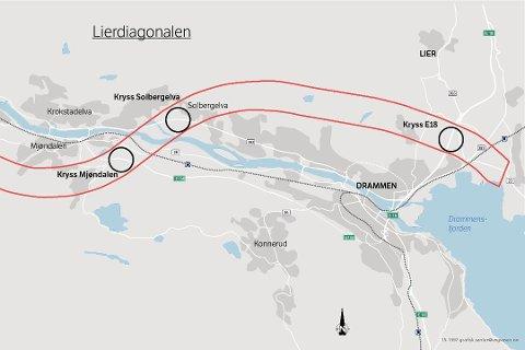 Lierdiagonalen slik Statens vegvesen ser for seg at det kan bli. Illustrasjon: Statens Vegvesen