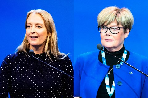 Sandra Bruflot og Kristin Ørmen Johnsen. Høyre. To separate bilder som er montert sammen fra talerstolen på Høyres Landsmøte på Gardermoen.