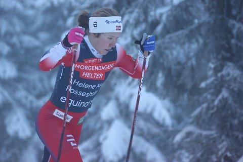 Helene Marie Fossesholm under det klassiske langrennet på Natrudstilen ved Sjusjøen søndag.