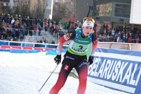 SKJØT FEILFRITT: Ida Lien traff all ti blinkene på standplass under mixstafetten i skiskytter-EM i Minsk.