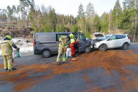 Det var to personer involvert i trafikkulykken, men ingen av dem skal være alvorlig skadd.