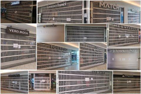 STENGT, STENGT STENGT: Her er noen av de 25 Gulskogen-butikkene som selv har valgt å lukke dørene.