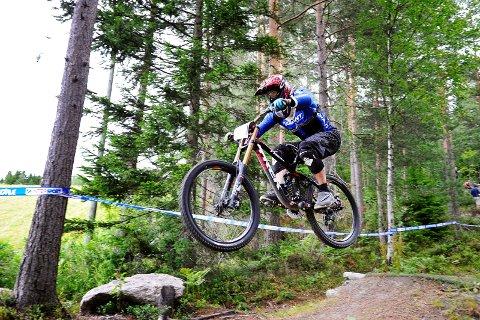 Norgesmesterskap downhill på sykkel i Drammen skisenter. Rune Sten Nilsen