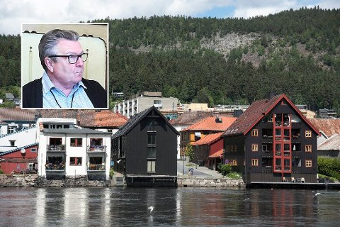 PÅ POLITIKERNES BORD? Frp-politiker Knut Gjerde (innfelt) vil at saken til Jørn Christiansen - som søkte om dispensasjon for å seksjonere leiligheten ved Drammenselva i to - skal til politisk behandling.