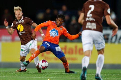 FORRIGE MØTE: MIF og Tonny Brochmann (t.v.) scoret da Aalesund ble slått 2-0 i Mjøndalen høsten 2018. Det er forrige gang lagene møttes.