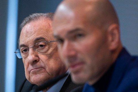 SENTRAL I REAL MADRID: Som klubbpresident har Florentino Pérez mye å si. Her sammen med trener Zinedine Zidane.
