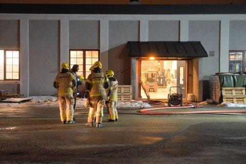 RØYKUTVIKLING: Nødetatene måtte rykke ut da brannalarmen gikk hos en bedrift i Nedre Eikervei tirsdag kveld.