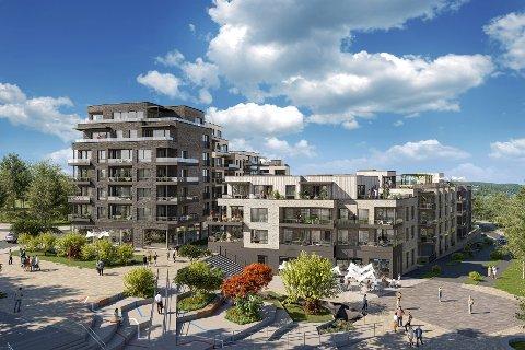"""300 LEILIGHETER: Prosjektet """"Konnerudparken"""" på oversiden av Svensedammen skole vil bestå av 300 leiligheter, torg, butikker og servicetilbud. Det første av to trinn kommer snart for salg og består av 108 leiligheter."""