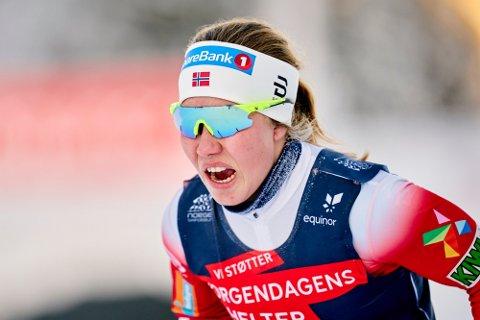 STERK PLASSERING: Helene Marie Fossesholm gikk inn til en råsterk 5. plass i kvinnenes 30 km jaktstart søndag.