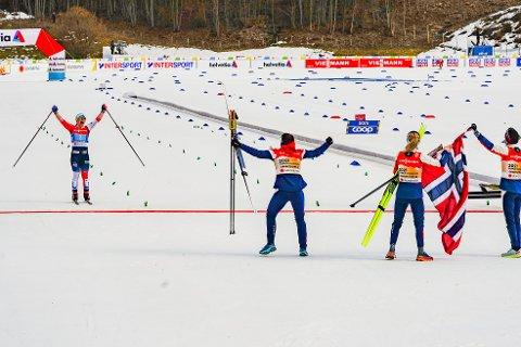GULL: Helene Marie Fossesholm og det norske stafettlaget gikk inn til en imponerende seier under stafetten torsdag.
