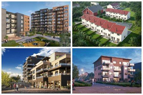 HVA SKJER? Illustrasjonene viser bare noen av boligprosjektene som reises i Drammen. Se nedenfor hvordan prosjektet ligger an.