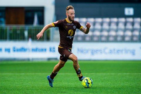 Mjøndalens Tonny Brochmann under eliteseriekampen i fotball mellom Mjøndalen og Haugesund på Consto Arena i Mjøndalen.