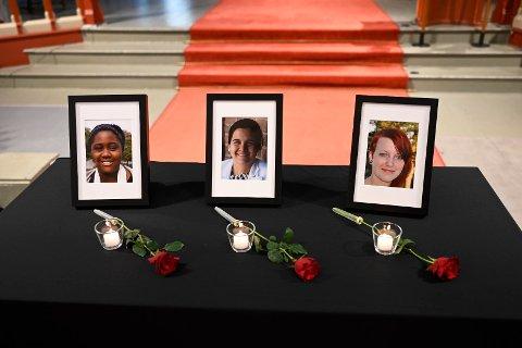 MARKERING: Onsdag klokka 11 var det minnemarkering for Modupe Ellen Awoyemi, Sharidyn Svebakk-Bøhn og Birgitte Smetbak i Bragernes kirke. De mistet livet altfor tidlig på Utøya 22. juli 2011.