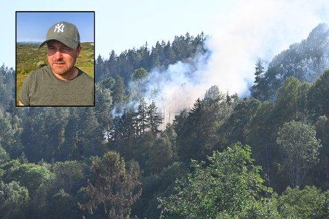 KUNNE GÅTT ILLE: Torgeir Elton (innfelt) var fire timer unna da det brøt ut brann rett bak gården hans ved Nesbygda.
