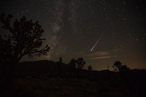 METEORSVERM: Været og mørke avgjør om en kan få øye på meteorsvermen eller ei, men meteorologen sier håpet er til stede. Dette bildet er fra da Perseidene var synlig over Nevada i 2018.