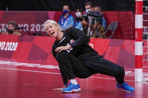 Katrine Lunde under kvartfinalen OL i Tokyo 2020 håndballkampen for kvinner mellom Norge og Ungarn i Yoyogi National Stadium.